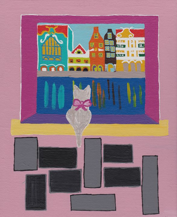 Cat looking outside - Dhan Arts