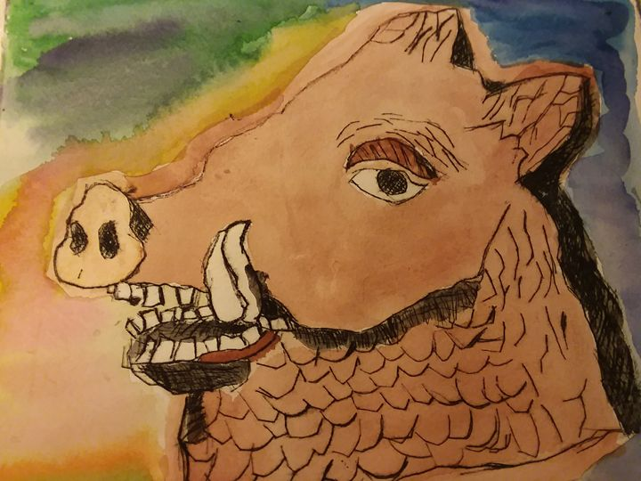 Paint and pen artwork Boar's Head - Bunni's Originals