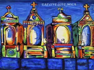 New Orleans Colorful Cemetery PRINT