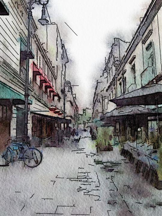 watercolor of a street - artinn