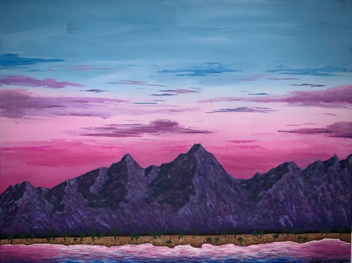 Beautiful pink&blue mountain sunset - Layla Washington