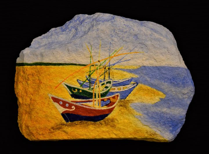 Fishing Boats on the Beach - PAINTED ROCKS by Sharon Patterson
