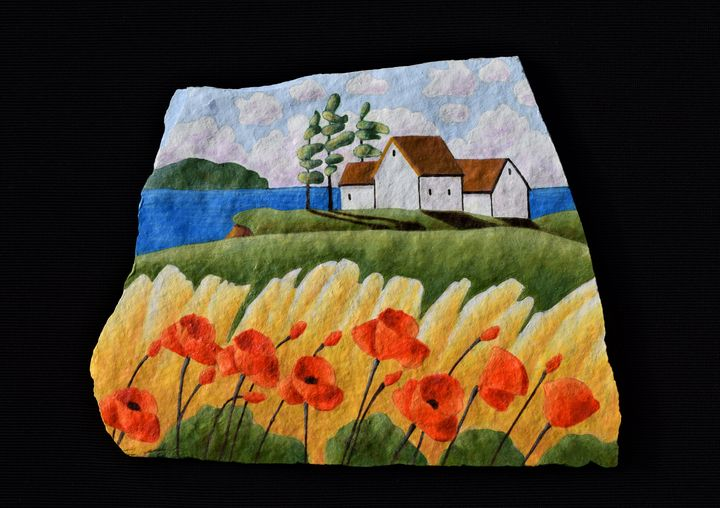 Poppy Field - PAINTED ROCKS by Sharon Patterson