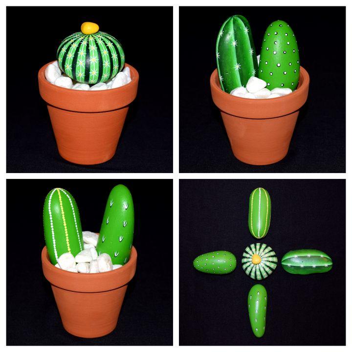 Mini Painted Cacti Arrangement - PAINTED ROCKS by Sharon Patterson