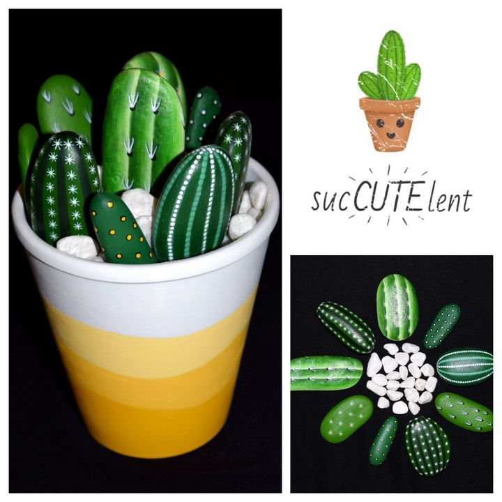 Painted Cacti Arrangement - PAINTED ROCKS by Sharon Patterson