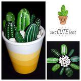 Painted Cacti Arrangement