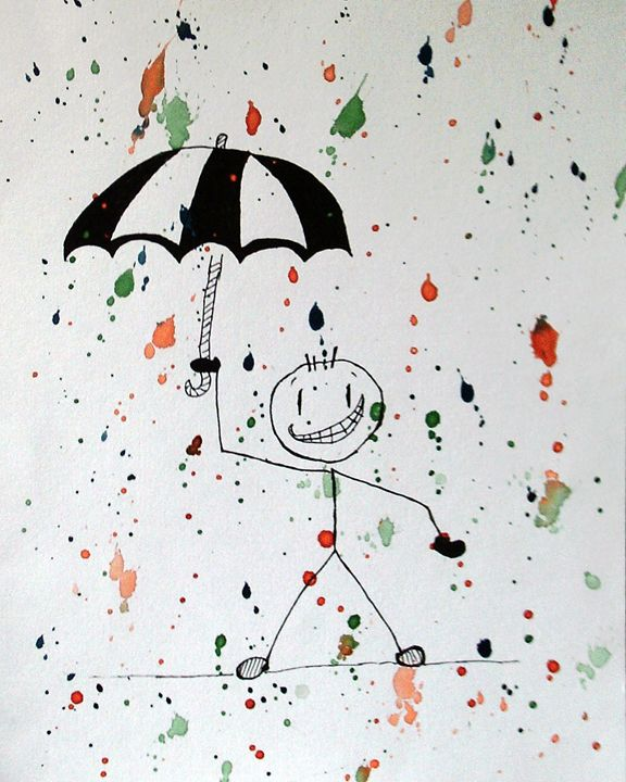 stickman in the rain - Deimante Kajataite