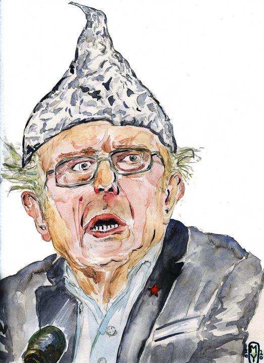 Bernie Saunders wearing Tinfoil Hat - SplatterMarks