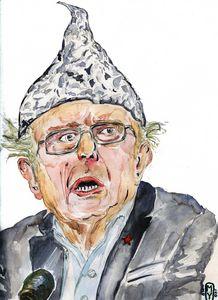 Bernie Saunders wearing Tinfoil Hat