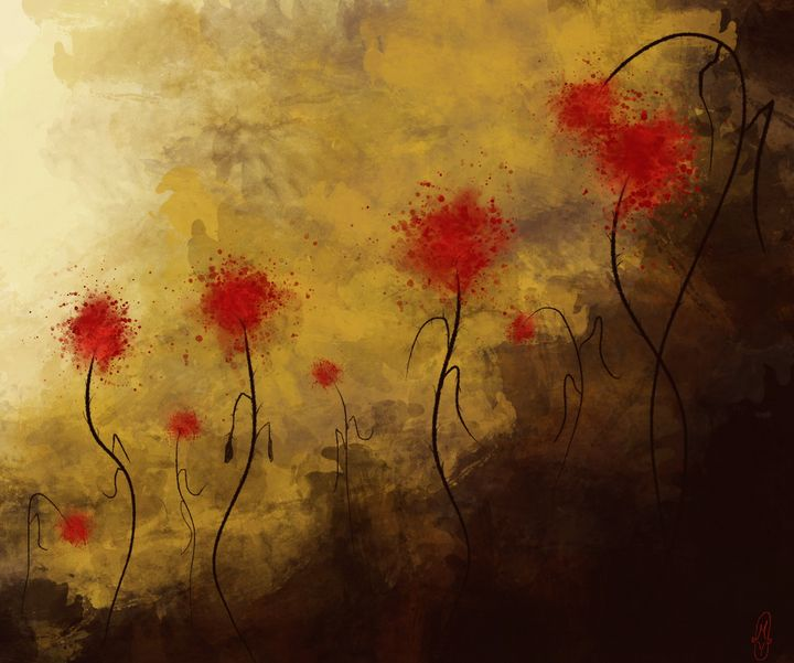 Blood Flowers on Golden Meadow - SplatterMarks