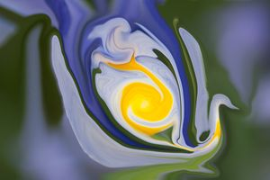 blue and yellow colors in swan shape - brunopaolobenedetti