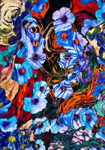 floral mottled indigo abstract