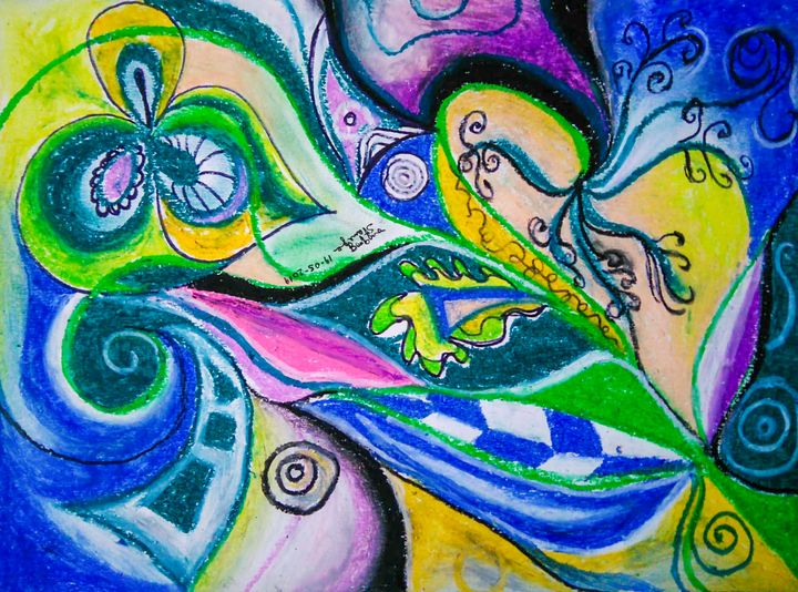 Blue Green Tones Movement Abstract - BBS Art
