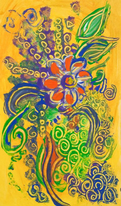 Flower Abstract on Yellow Background - BBS Art