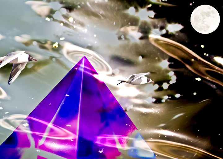 emerging from water crystal pyramid - brunopaolobenedetti