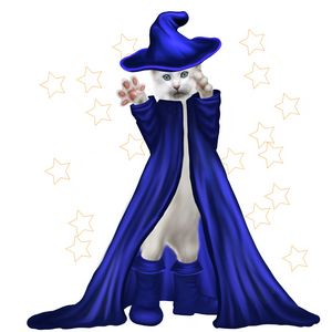 Cat Wizard with Stars