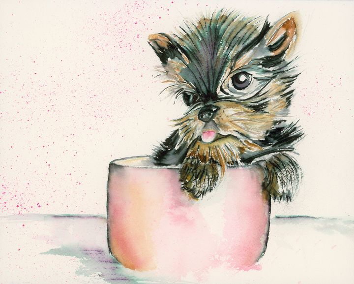Teacup Terrier (Dog) - Wineries & Landscapes by Grace Fong