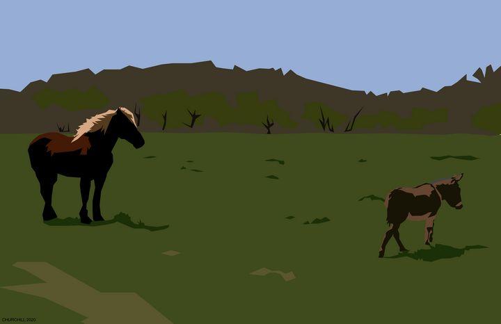 Horse and Donkey - John Churchill