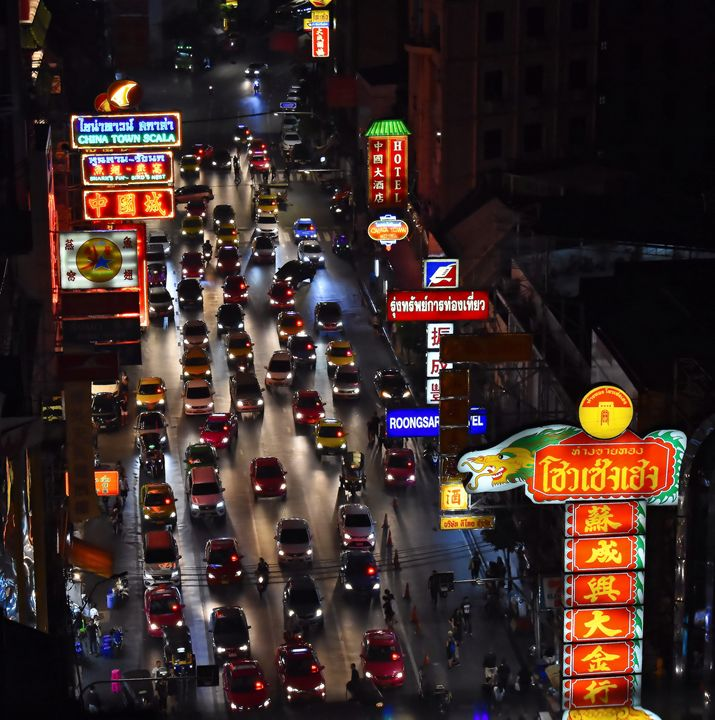 Night traffic Chinatown Bangkok - RCRayner