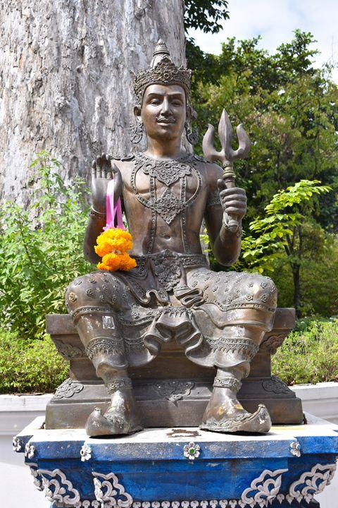Bronze Buddha with trident - RCRayner