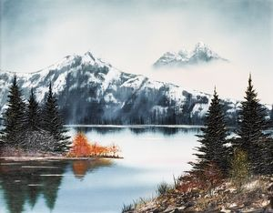serene oil painting of Mountain Lake
