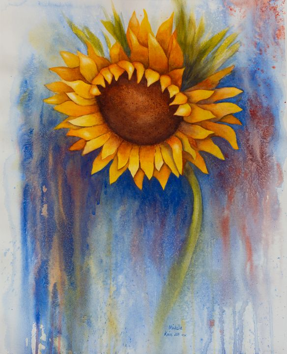 Abstract watercolor of a sunflower - Michelle LeVesque Knie