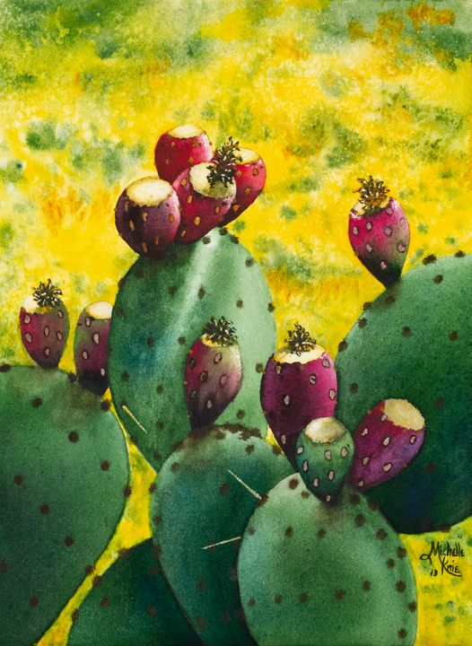 watercolor of a prickly pear cactus - Michelle LeVesque Knie