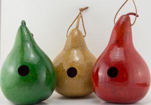 3 Dyed Gourd Birdhouses