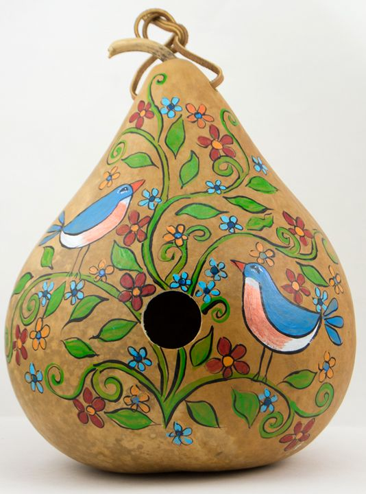 Painted Gourd Birdhouse Bluebirds - Gourdaments by Devon Cameron in Middletown, NY