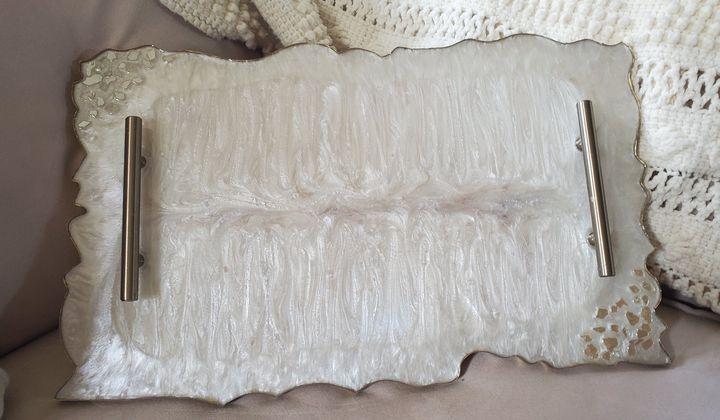 Shimmery Pearl Resin Tray - Debi Allard Art