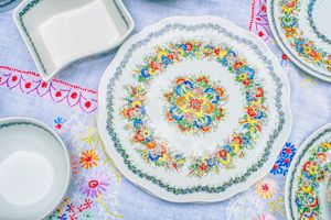colorfully decorated plate