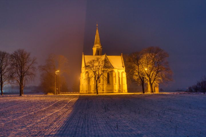 church on a winter night - Jarek Witkowski gallery