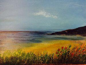 Golden Seascape - Blue Can Fine Art