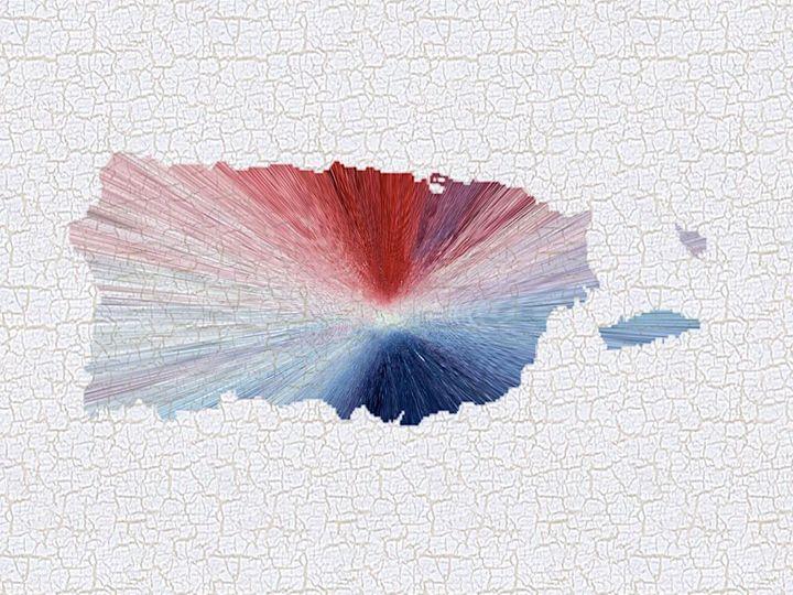Colorful Art Puerto Rico Map Blue, R - Saribelle Inspirational Art