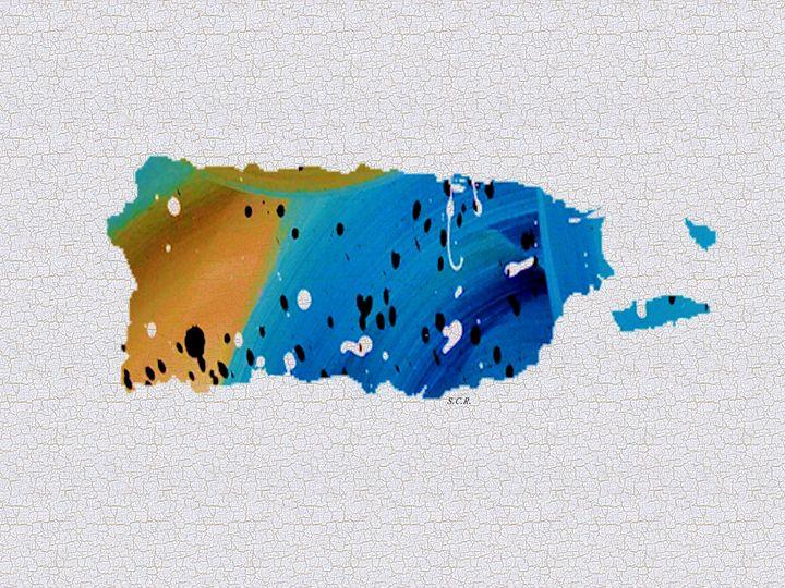 Colorful Art Puerto Rico Map Blue an - Saribelle Inspirational Art
