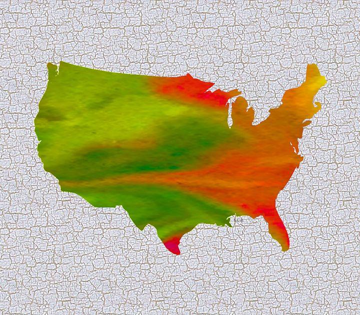 Colorful Art USA Map - Saribelle Inspirational Art
