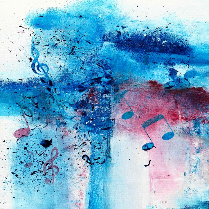 Abstract Acrylic Painting Music Note - Saribelle Inspirational Art