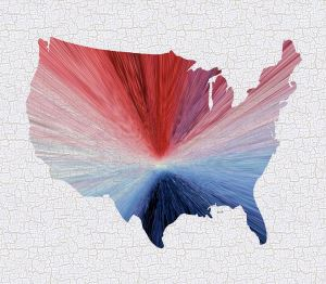 Colorful Art USA Map Blue, Red and W