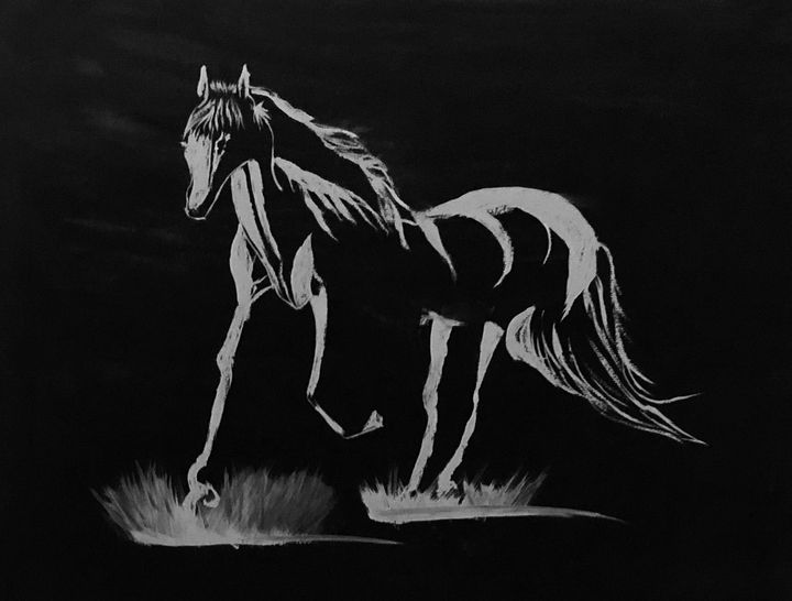 Horse Black and White - Deepak's Art