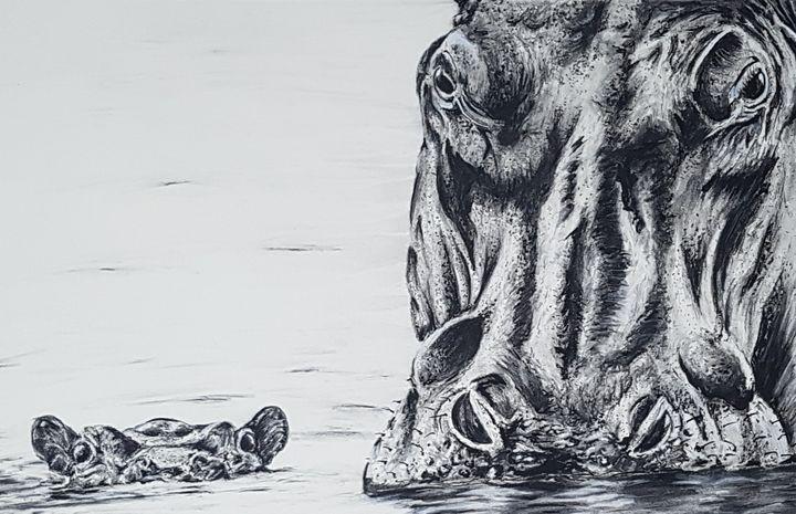 Hippos - Burns - Fine Art