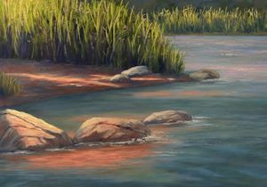 River rocks and reeds