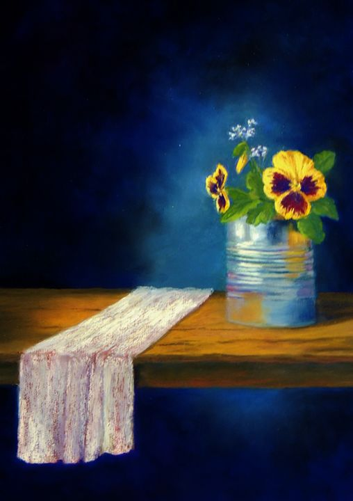 Pansies in a tin can - candice ferguson fine art