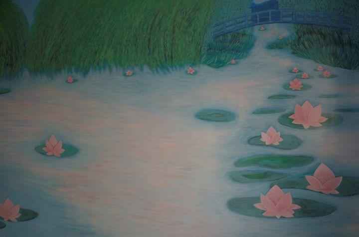 Pink flowers in pond - Marlena Art