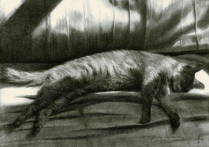 Furia sunbathing - 16-05-16 (sold) - Corné Akkers art works