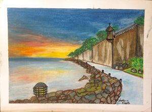 The wall of El Morro, San Juan, P.R.