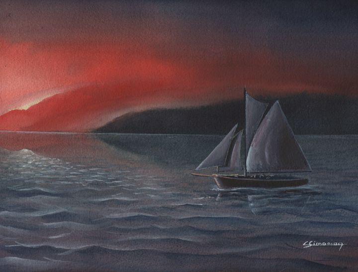 sailboat in twilight - Christian Simonian
