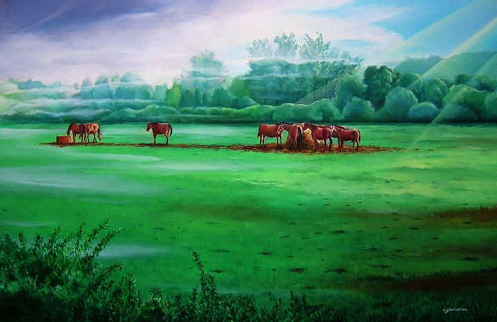 Horses in early morning - Christian Simonian