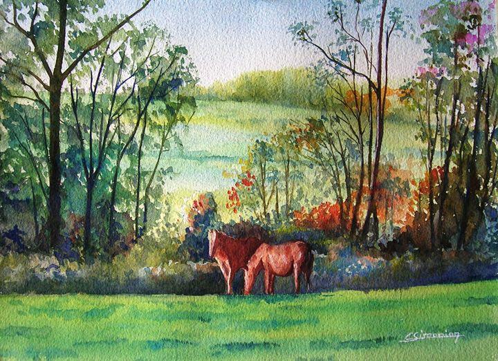 two horses - Christian Simonian