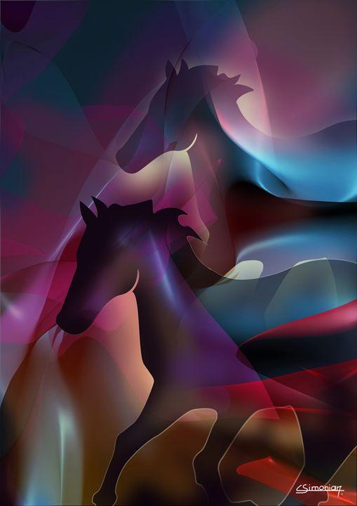 The black horses - Christian Simonian
