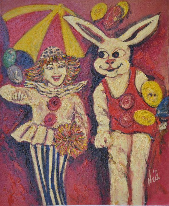 Clown and Bunny - Neil's Original Art
